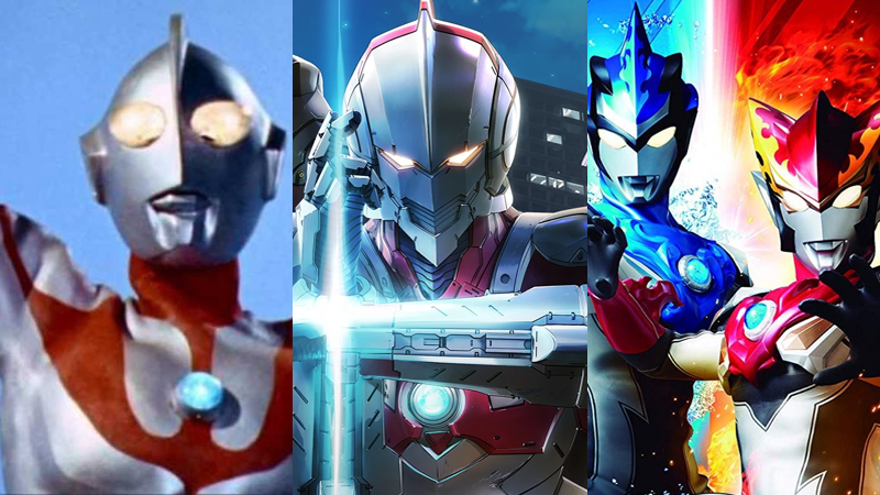 Three generations of Ultra Warriors—the original Ultraman, the armored star of the new Ultraman anime, and the brotherly protagonists of last year's Ultraman R/B.