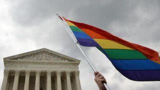 The multicolored flag of the gay-rights movement is seen outside the Supreme Court in Washington, D.C., June 26. 2015, after the court's historic decision making gay marriage a nationwide right.MLADEN ANTONOV/AFP/Getty Images