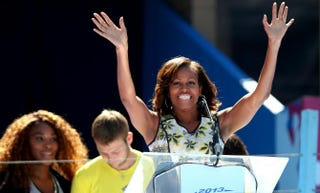 First lady Michelle Obama at the USTA Billie Jean King National Tennis Center in New York City for Arthur Ashe Kids' Day on Aug. 24, 2013Matthew Stockman/Getty Images