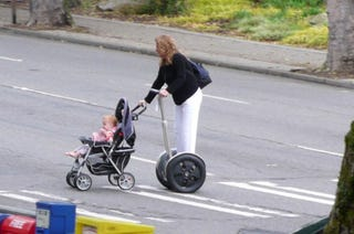 Illustration for article titled This is What We've Become: Woman Pushes Baby on Segway