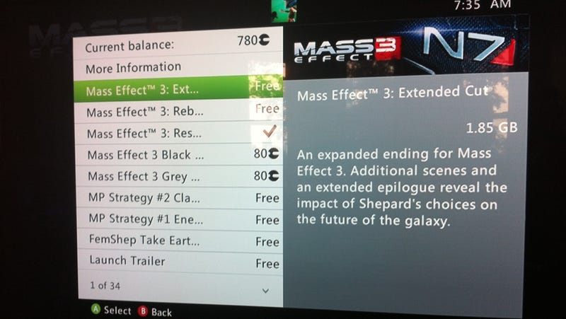 Illustration for article titled Xbox 360 People, You Can Download Mass Effect 3's Extended Ending Right Now