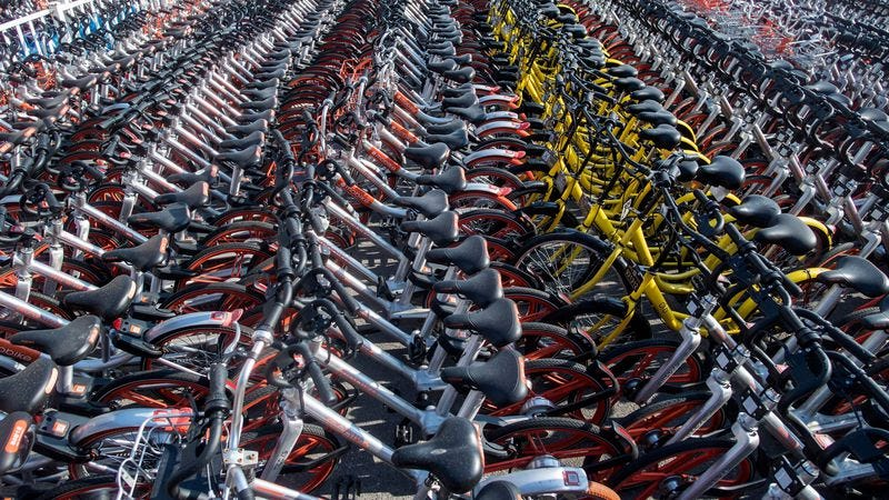 Impounded bicycles in Shanghai (Photo: Johannes Eisele/AFP/Getty Images)
