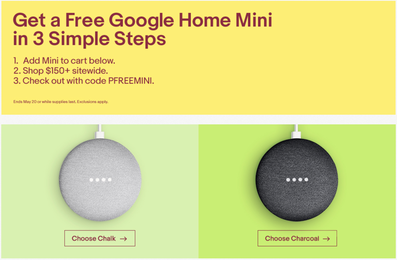 FREE Google Home Mini With $150+ eBay Purchase   eBay   Promo code PFREEMINI   Excludes gift cards, paper money, and real estate.