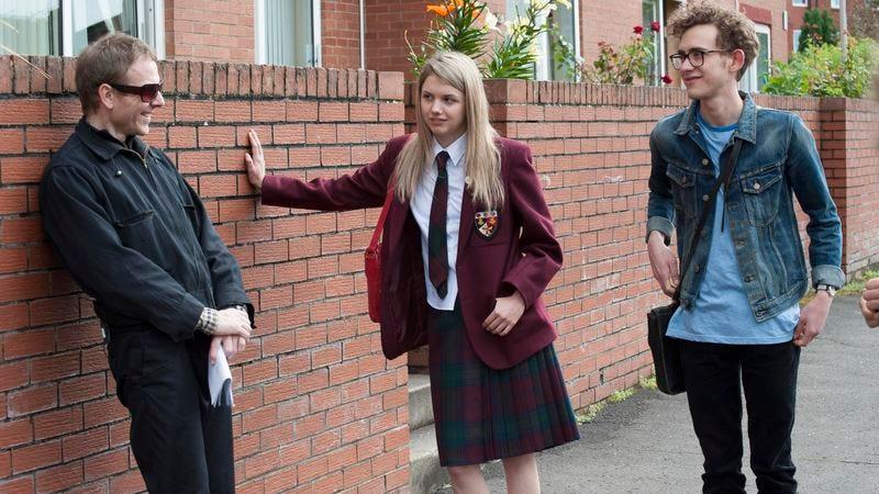 Murdoch (left), with Hannah Murray and Olly Alexander