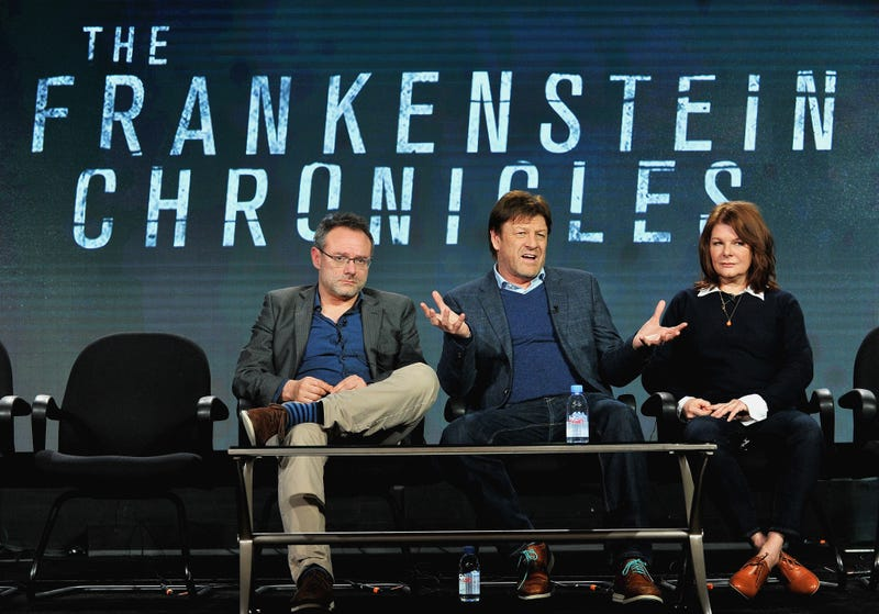Sean Bean (center), presumably explaining that, no, his character isn't named Frankenstein either. (Photo: Jerod Harris/Getty Images for A+E Networks)