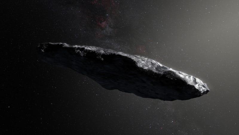 Illustration for article titled Oumuamua, el primer objeto interestelar, es más pequeño y rápido de lo que se creía