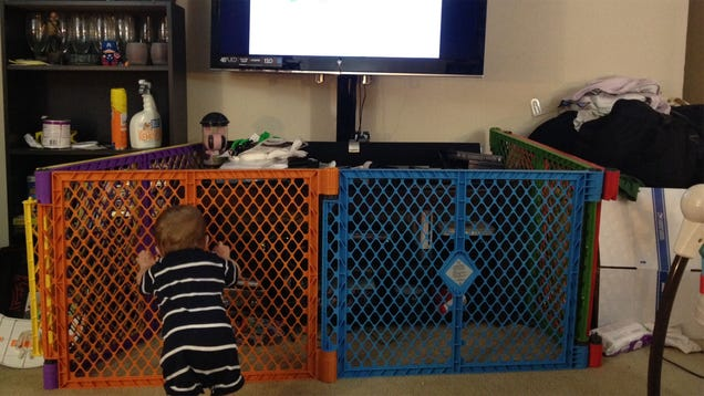 baby gate around entertainment center 2