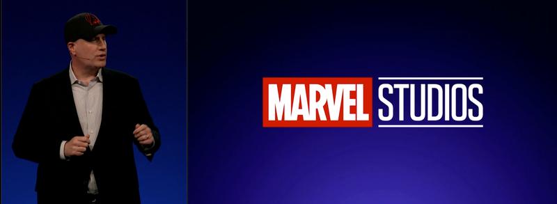 Kevin Feige presenting at the Disney investors' presentation.