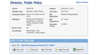 Illustration for article titled Komen Posts Job Listing for Position That Looks Suspiciously Like Karen Handel's