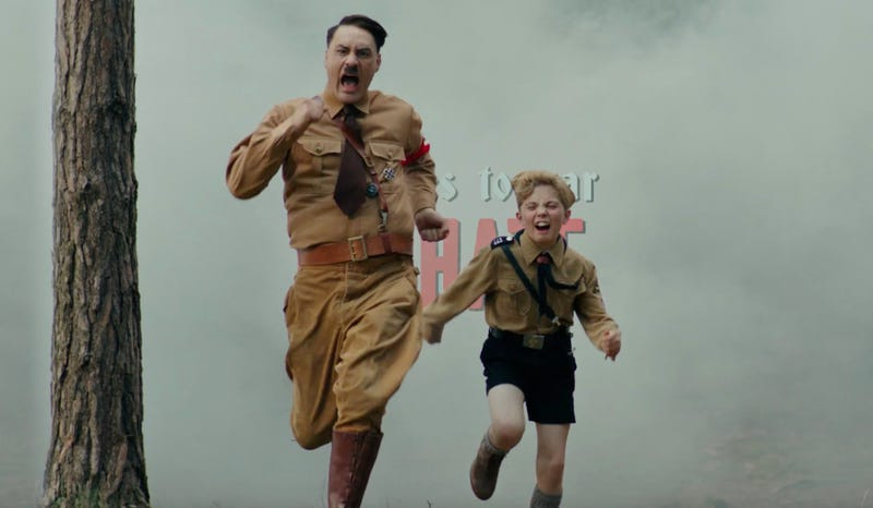 Hitler and Jojo (Taika Waititi and Roman Griffin Davis) in Jojo Rabbit.