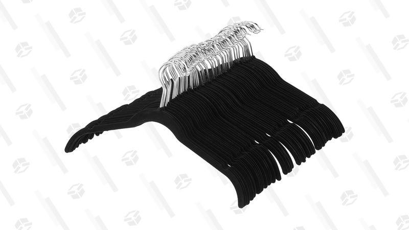 AmazonBasics Velvet Shirt Dress Clothes Hangers, 100-Pack, Black or Ivory | $28 | Amazon