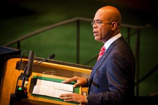 Haitian President Michael Martelly speaks during the United Nations General Assembly on September 23, 2011 in New York City.Michael Nagle/Getty Images