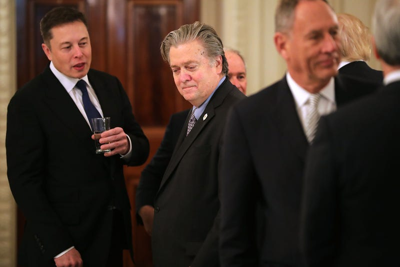SpaceX and Tesla CEO Elon Musk with then-White House chief strategist Steve Bannon at the beginning of a policy forum with President Donald Trump in the State Dining Room at the White House in Washington, D.C., on Feb. 3, 2017