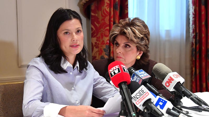 Natassia Malthe and attorney Gloria Allred (Photo: Mike Coppola/Getty Images)