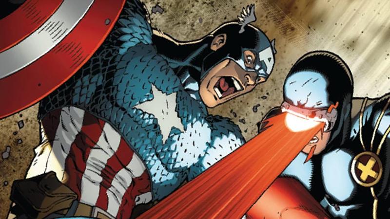 Captain America and Cyclops battling in Avengers vs. X-Men #1.