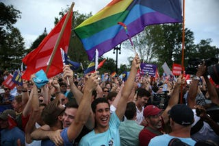 Same-sex-marriage supporters rejoice June 26, 2015, outside the Supreme Court in Washington, D.C., after the high court ruled that same-sex couples have the right to marry in all 50 states.Alex Wong/Getty Images