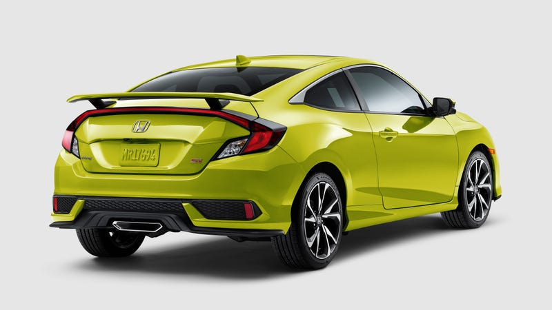 Illustration for article titled The 2019 Honda Civic Si Gets a $200 Price Bump and Comes in the Ever-Charming Snot Green
