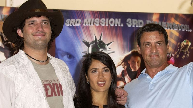 Rodriguez, Salma Hayek, and Stallone promoting Spy Kids 3-D in 2003 (Photo: Getty Images)