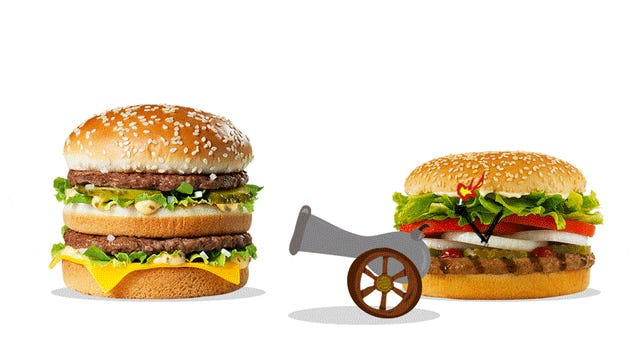 bigmac vs whopper essay Here is the storied and gloried lineup: the whopper from burger king, the dave's single from wendy's, and the big mac from mcdonald's.