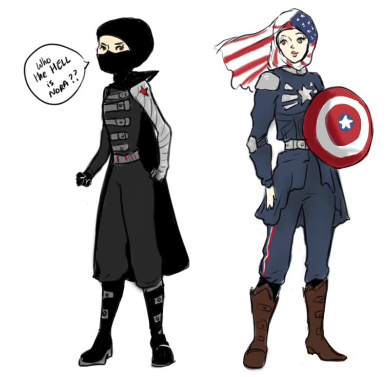 Illustration for article titled Hijab-Wearing Lady Draws Herself As Different Marvel Superheroes