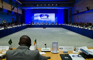 A meeting at the World Bank during the U.S.-Africa Summit in Washington, D.C., Aug. 4, 2014KAREN BLEIER/AFP/Getty Images