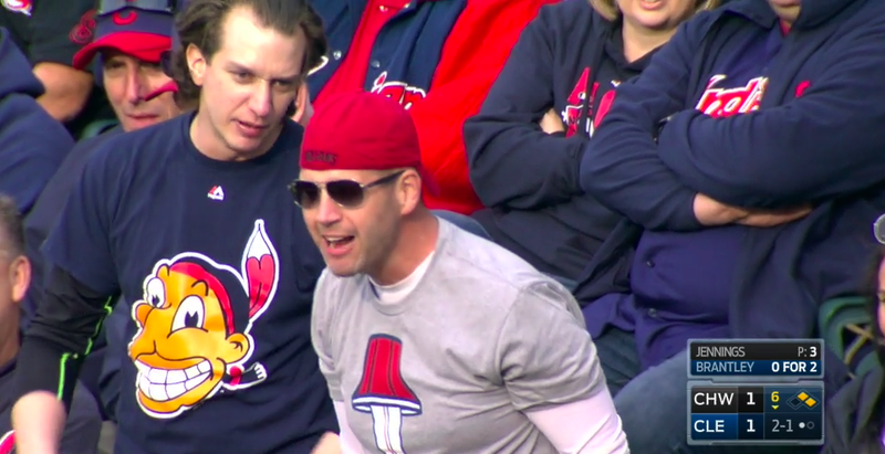 The throwback Chief Wahoo logo on an officially licensed Indians t-shirt. Screenshot via SportsTime Ohio.