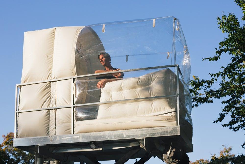 Van Parks Bubble Emerges Man Inside
