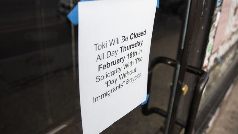 """A restaurant in Washington, D.C. announces it will be closed Thursday in solidarity with """"A Day Without Immigrants."""" (Photo: Samuel Corum/Anadolu Agency/Getty Images)"""