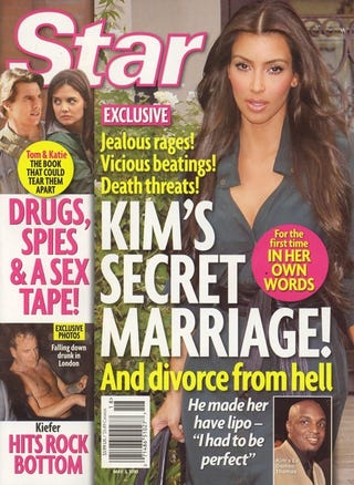 """Illustration for article titled This Week In Tabloids:  Kim's Marriage Was Abusive; Larry King's A """"Sex Freak"""""""