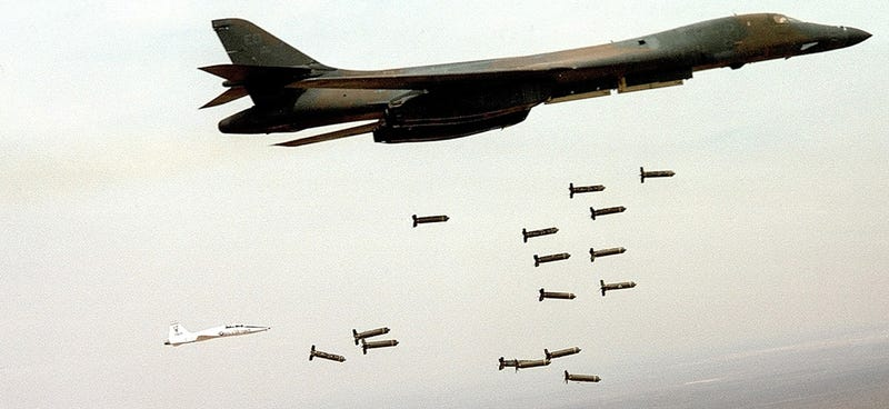 (FILE PHOTO) A B-1B Lancer from the U.S. Air Force 28th Air Expeditionary Wing drops arsenal while on a combat mission in support of strikes on Afghanistan in this image released December 7, 2001. A B-1 Bomber, similar to the one shown here, has gone down in the Indian Ocean December 12, 2001 according to a Pentagon spokesman. According to early reports, the crew of the aircraft was rescued. (Photo Courtesy USAF/Getty Images)