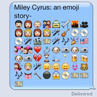 Illustration for article titled A Remarkably Accurate Emoji Biography of Miley Cyrus