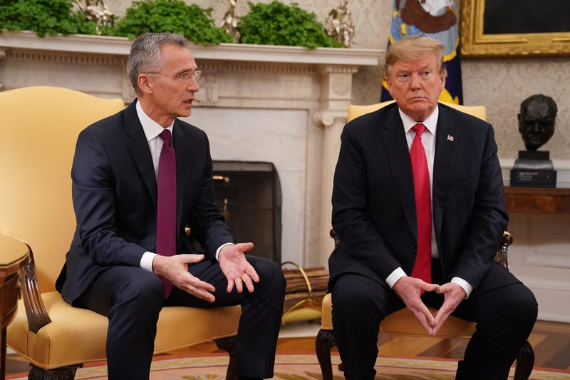 NATO Secretary General Jens Stoltenberg (L) and President Donald Trump talk to reporters in the Oval Office at the White House April 2, 2019 in Washington, DC.