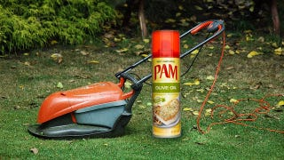 Illustration for article titled Grease Your Lawn Mower Blades with Cooking Spray for a Cleaner, Problem-Free Cut