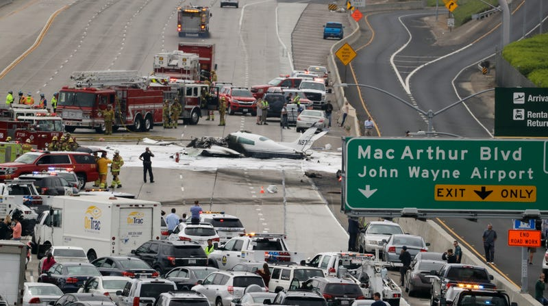 Fiery plane crash on Interstate 405 near John Wayne Airport