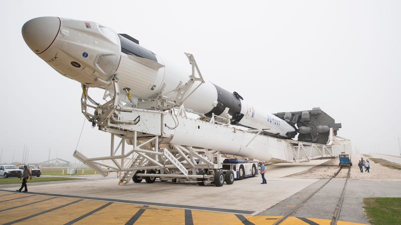 The Crew Dragon spacecraft on top its Falcon 9 rocket during pre-mission prep on Feb. 28, 2019.