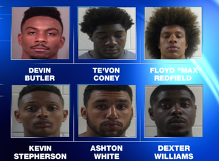 Shown are the six Notre Dame football players who are facing disciplinary action after arrests in two separate incidents Aug. 20, 2016. WSBT22