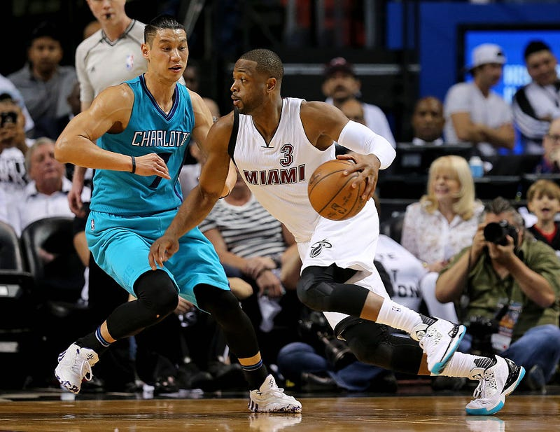 This is Dwyane Wade driving on Jeremy Lin in Game 1. Via Getty Images.