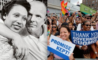 Mildred and Richard Loving (Bettmann/Corbis);New Yorkers celebrate Marriage Equality Bill. (Jemal Countess/Getty Images)