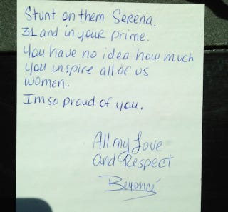 """Illustration for article titled Beyoncé's Note To Serena Williams: """"Stunt On Them, Serena"""""""