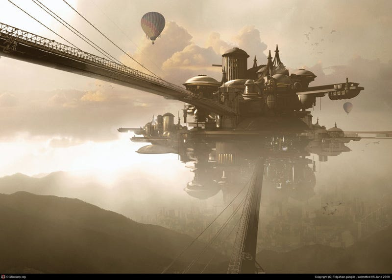 Illustration for article titled An Airborne City Emerges from the Clouds