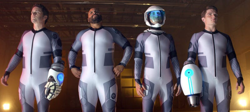 Illustration for article titled Four Idiots Dismantle an Alien Super Suit in This Exclusive Clip From Lazer Team