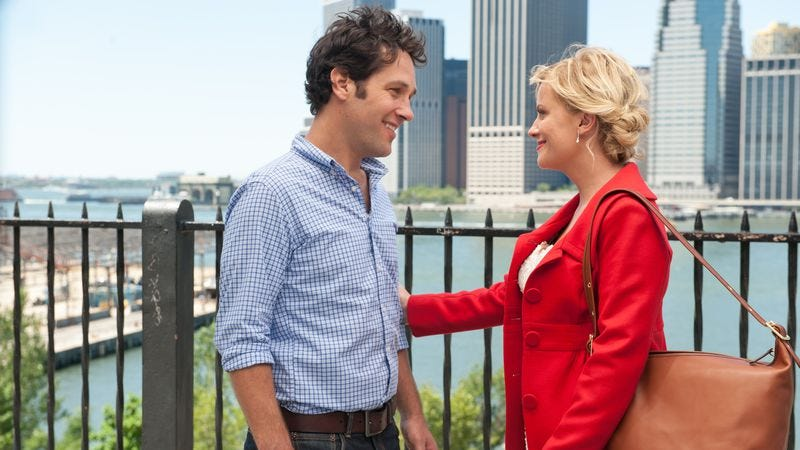 Illustration for article titled Paul Rudd and Amy Poehler spoof rom-com clichés in They Came Together