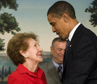 President Barack Obama with former  first lady Nancy Reagan in 2009JIM WATSON/AFP/Getty Images