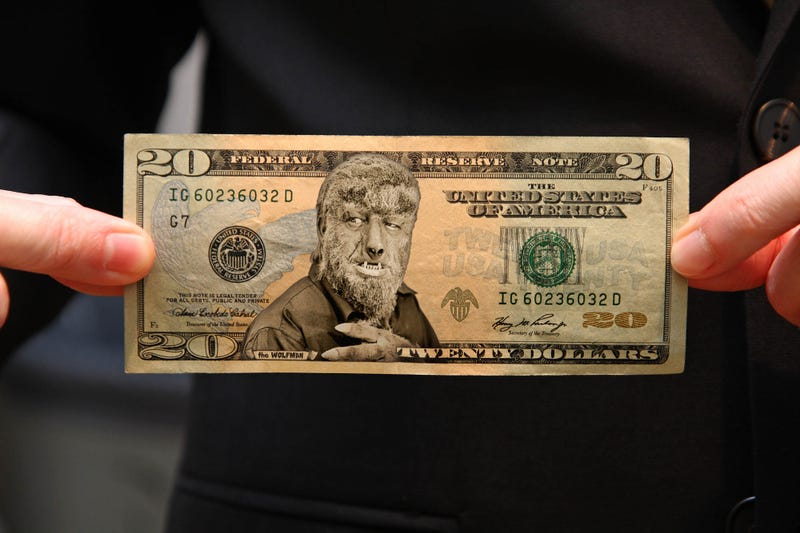 Illustration for article titled Treasury Department Releases New 'Monsters Of The Silver Screen' $20 Bill