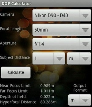 Illustration for article titled DOF Calculator Turns Your Android Phone into a Photographer's Helper