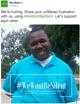 One of The Root's #WeWontBeSilent tweets, featuring an image of Alton SterlingScreenshot