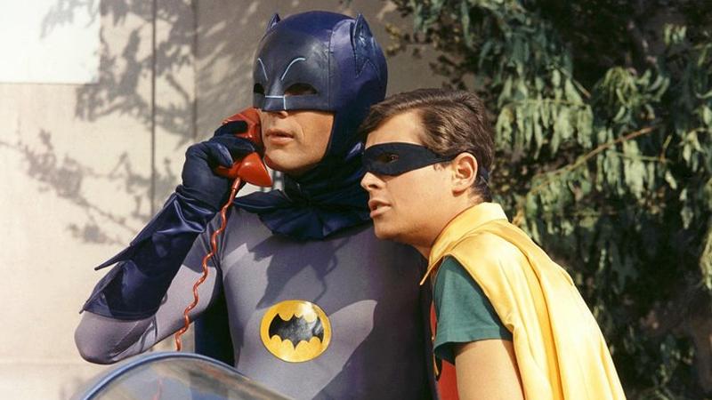 The dearly missed Adam West as Batman, alongside Burt Ward as Robin.