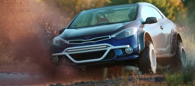 Illustration for article titled The Kia Forte Koup Mud Bogger Concept Is Badass Even If It's Two-Wheel Drive