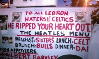 """Illustration for article titled Heat Fan Uses Windowless Van To Call Out """"Sixters"""" Fans, Haters In General (Update)"""