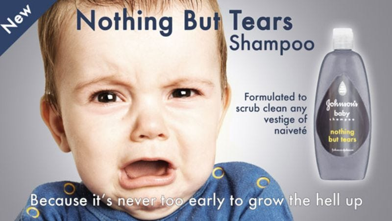 Illustration for article titled Johnson & Johnson Introduces 'Nothing But Tears' Shampoo To Toughen Up Newborns